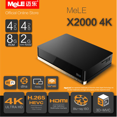 MeLE X2000 4K Quad Core H.265 Dolby Digital Plus DTS 7.1
